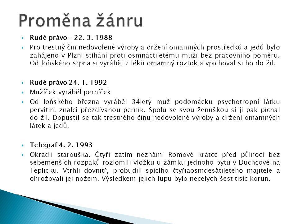 Rudé právo – 22. 3. 1988  Pro trestný čin nedovolené výroby a držení omamných prostředků a jedů bylo zahájeno v Plzni stíhání proti osmnáctiletému