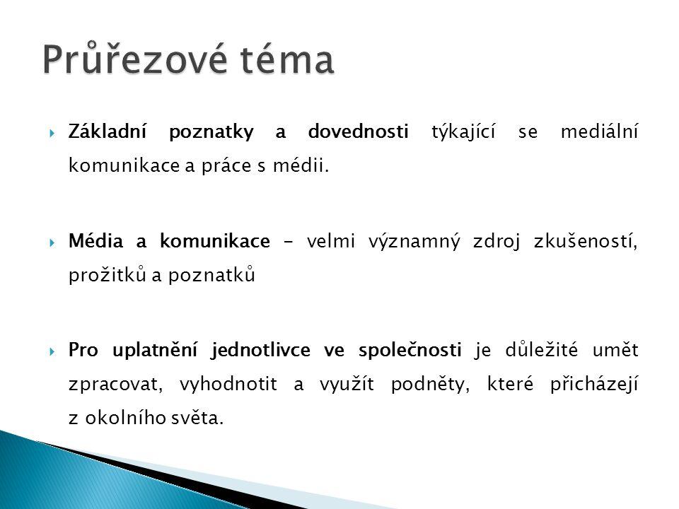  Základní poznatky a dovednosti týkající se mediální komunikace a práce s médii.  Média a komunikace - velmi významný zdroj zkušeností, prožitků a p
