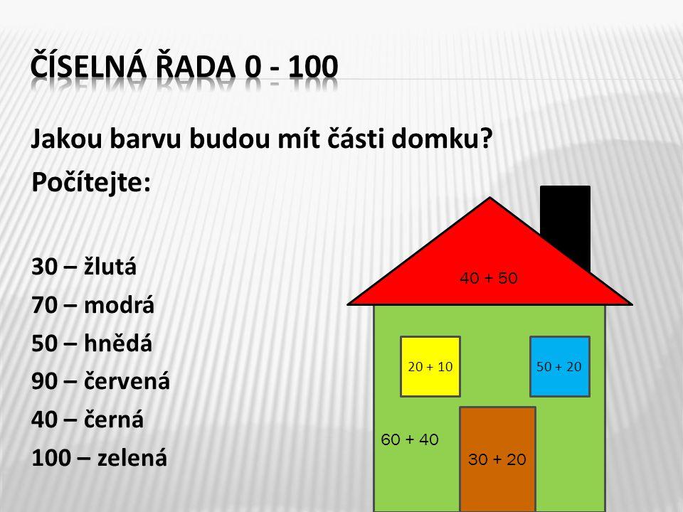 Vypočítejte: 10 + 20 + 10 + 20 + 10 + 0 + 20 30 40 60 70 80 100