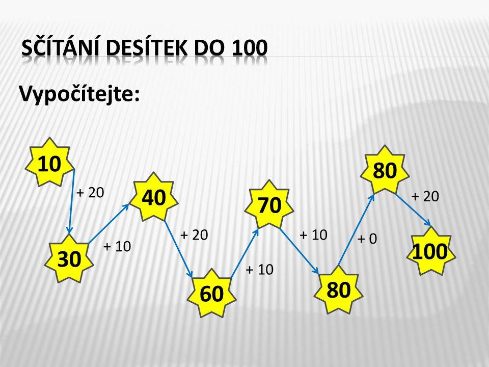 Opište příklady do sešitu a vypočítejte: 20 + 30 =60 + 20 = 50 + 10 =30 + 40 = 80 + 20 =40 + 40 = 50 + 30 =20 + 70 = 70 + 30 =60 + 40 = 12