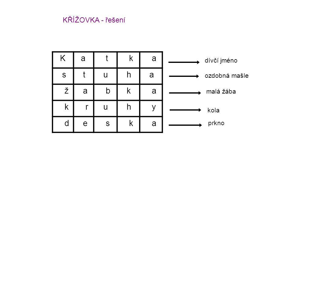 K a t k a s t u h a ž a b k a k r u h y d e s k a dívčí jméno ozdobná mašle malá žába kola prkno KŘÍŽOVKA - řešení