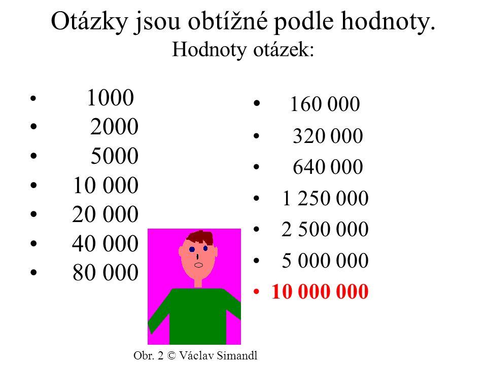 Otázky jsou obtížné podle hodnoty. Hodnoty otázek: 1000 2000 5000 10 000 20 000 40 000 80 000 160 000 320 000 640 000 1 250 000 2 500 000 5 000 000 10