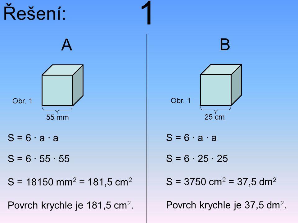 Řešení: S = 6 · a · a S = 6 · 55 · 55 S = 18150 mm 2 = 181,5 cm 2 Povrch krychle je 181,5 cm 2. 55 mm Obr. 1 A S = 6 · a · a S = 6 · 25 · 25 S = 3750