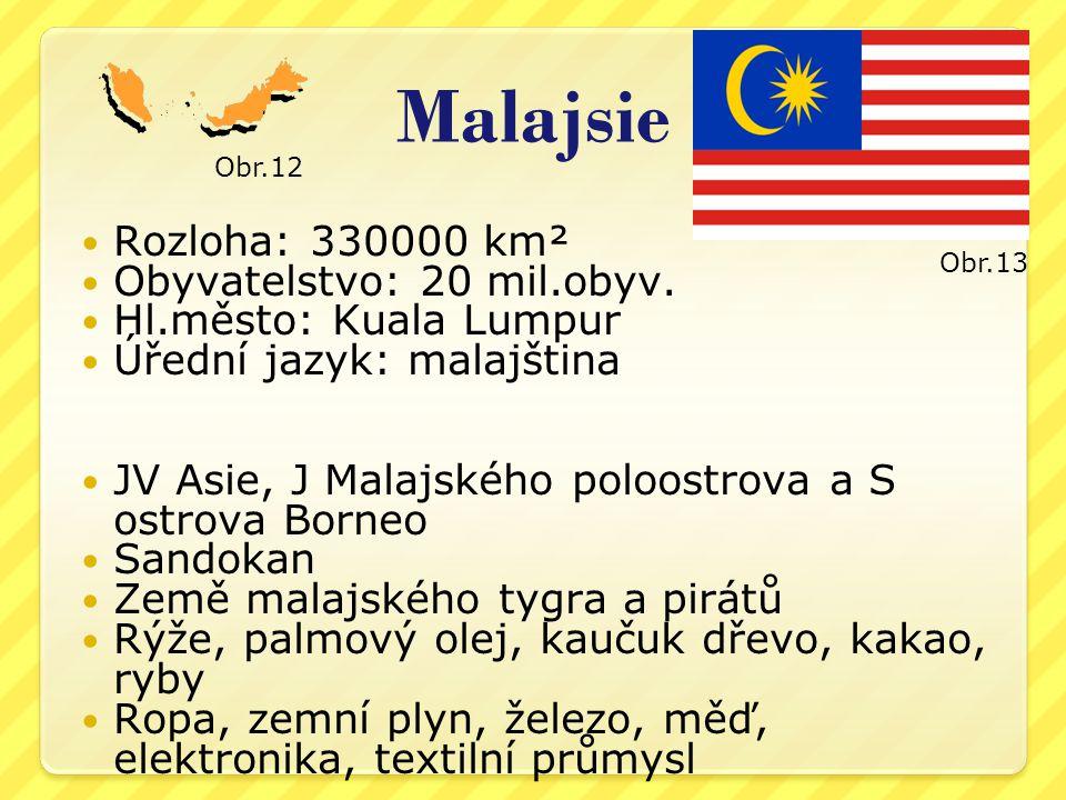 Malajsie Rozloha: 330000 km² Obyvatelstvo: 20 mil.obyv.
