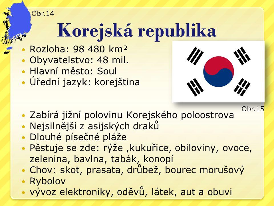 Korejská republika Rozloha: 98 480 km² Obyvatelstvo: 48 mil.