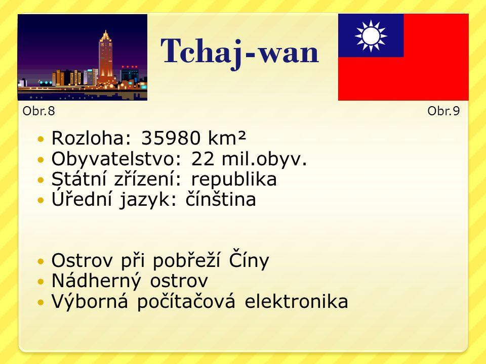 Tchaj-wan Rozloha: 35980 km² Obyvatelstvo: 22 mil.obyv.