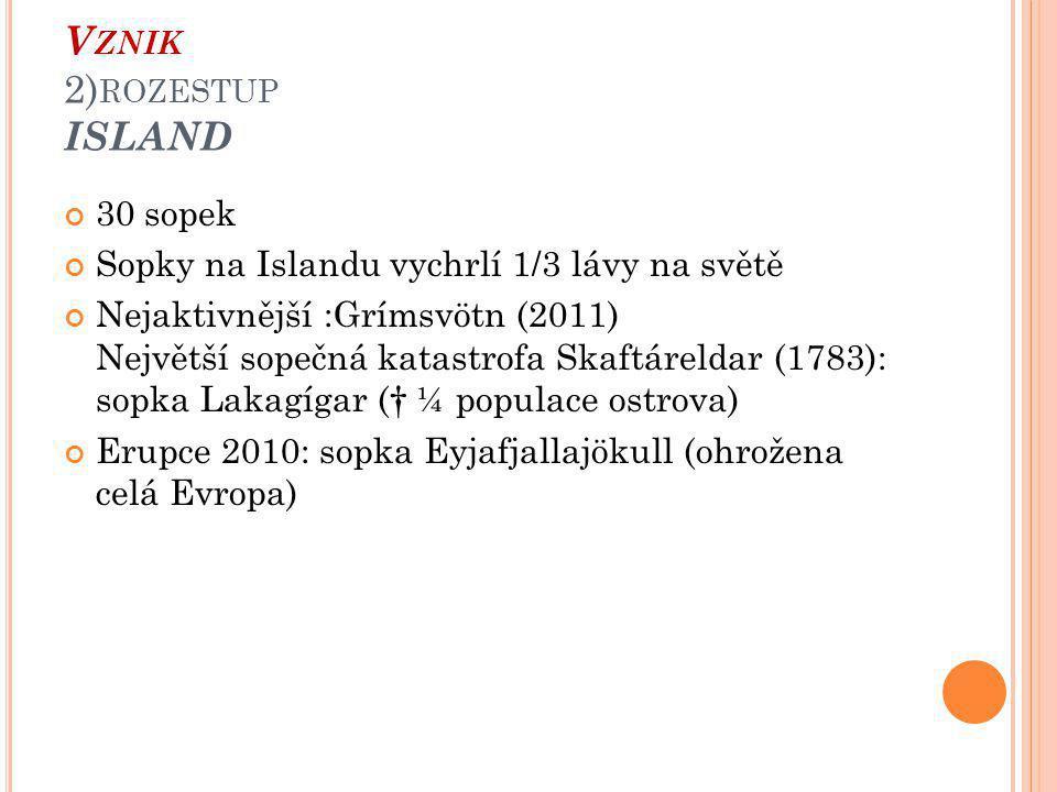 30 sopek Sopky na Islandu vychrlí 1/3 lávy na světě Nejaktivnější :Grímsvötn (2011) Největší sopečná katastrofa Skaftáreldar (1783): sopka Lakagígar († ¼ populace ostrova) Erupce 2010: sopka Eyjafjallajökull (ohrožena celá Evropa)