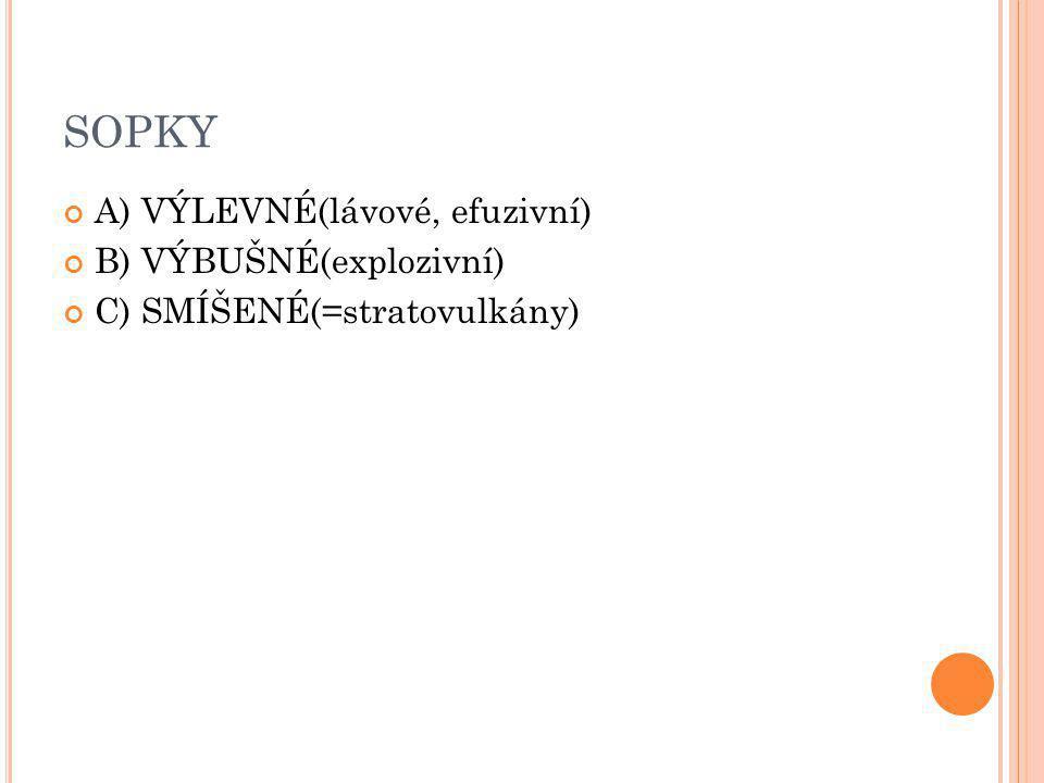 SOPKY A) VÝLEVNÉ(lávové, efuzivní) B) VÝBUŠNÉ(explozivní) C) SMÍŠENÉ(=stratovulkány)