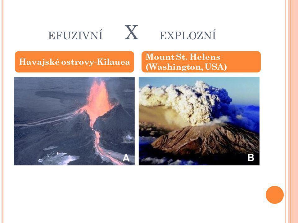 EFUZIVNÍ X EXPLOZNÍ Havajské ostrovy-Kilauea Mount St. Helens (Washington, USA)
