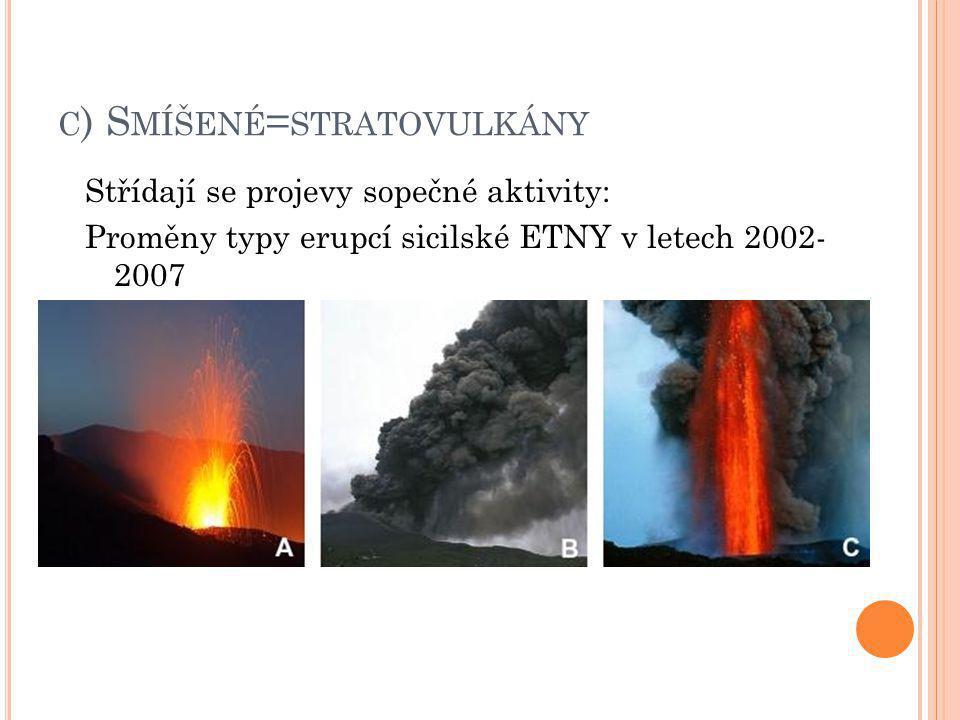 C ) S MÍŠENÉ = STRATOVULKÁNY Střídají se projevy sopečné aktivity: Proměny typy erupcí sicilské ETNY v letech 2002- 2007