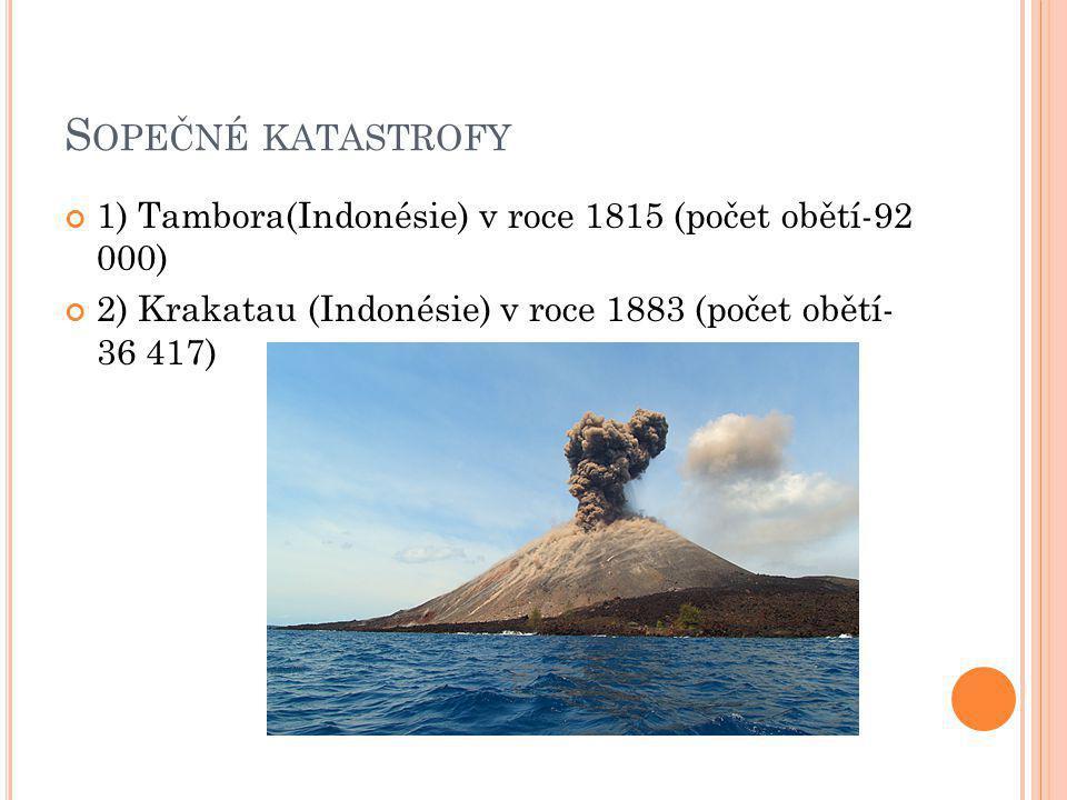S OPEČNÉ KATASTROFY 1) Tambora(Indonésie) v roce 1815 (počet obětí-92 000) 2) Krakatau (Indonésie) v roce 1883 (počet obětí- 36 417)