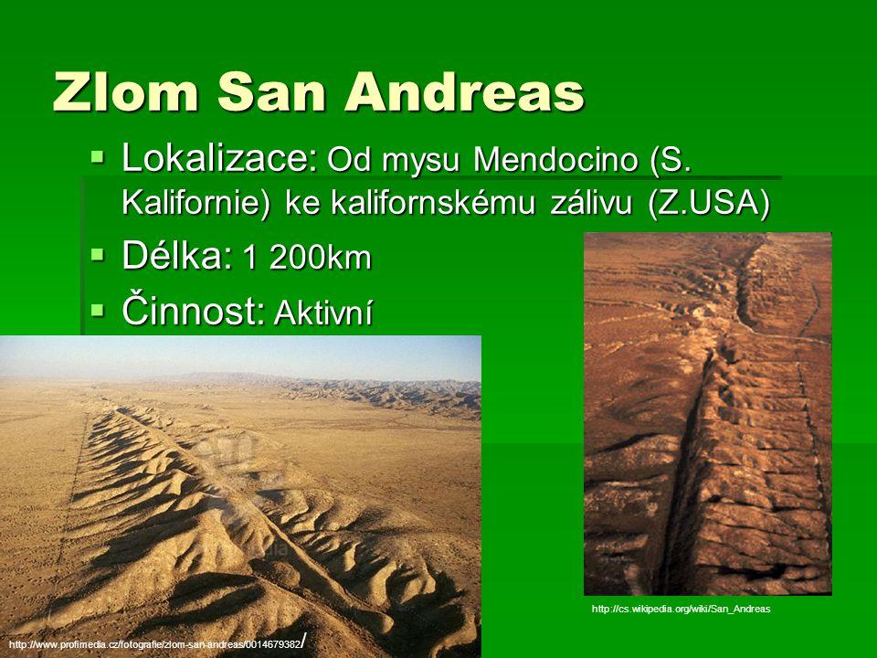 Zlom San Andreas  Lokalizace: Od mysu Mendocino (S. Kalifornie) ke kalifornskému zálivu (Z.USA)  Délka: 1 200km  Činnost: Aktivní http://www.profim