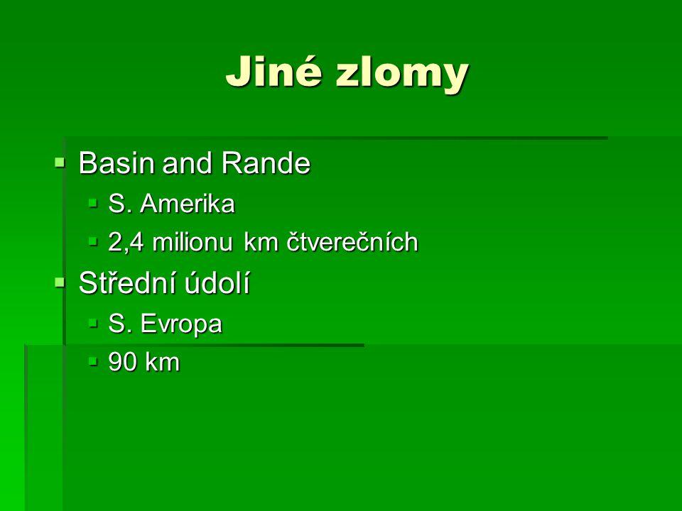 Jiné zlomy  Basin and Rande  S. Amerika  2,4 milionu km čtverečních  Střední údolí  S. Evropa  90 km