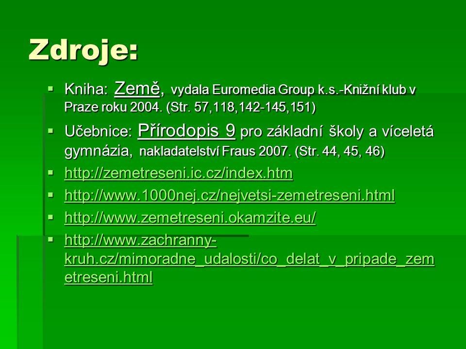 Zdroje:  Kniha: Země, vydala Euromedia Group k.s.-Knižní klub v Praze roku 2004. (Str. 57,118,142-145,151)  Učebnice: Přírodopis 9 pro základní škol