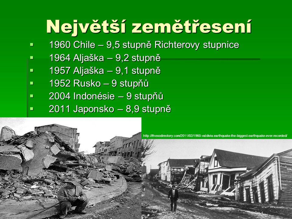 Největší zemětřesení  1960 Chile – 9,5 stupně Richterovy stupnice  1964 Aljaška – 9,2 stupně  1957 Aljaška – 9,1 stupně  1952 Rusko – 9 stupňů  2