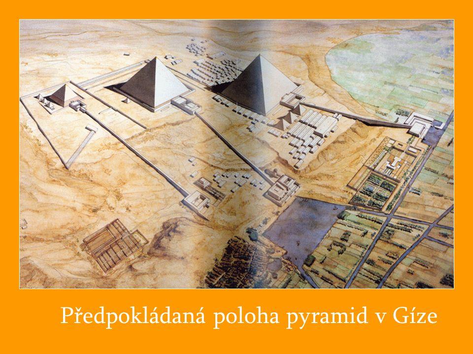Předpokládaná poloha pyramid v Gíze