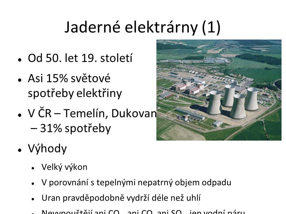Jaderné elektrárny (1) Od 50. let 19.