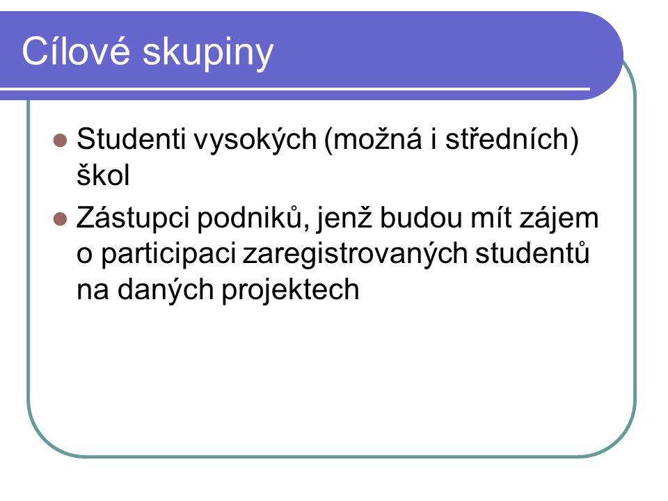 Cílové skupiny Studenti vysokých (možná i středních) škol Zástupci podniků, jenž budou mít zájem o participaci zaregistrovaných studentů na daných projektech