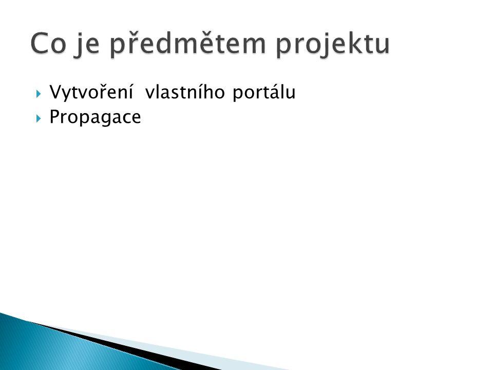  Vytvoření vlastního portálu  Propagace