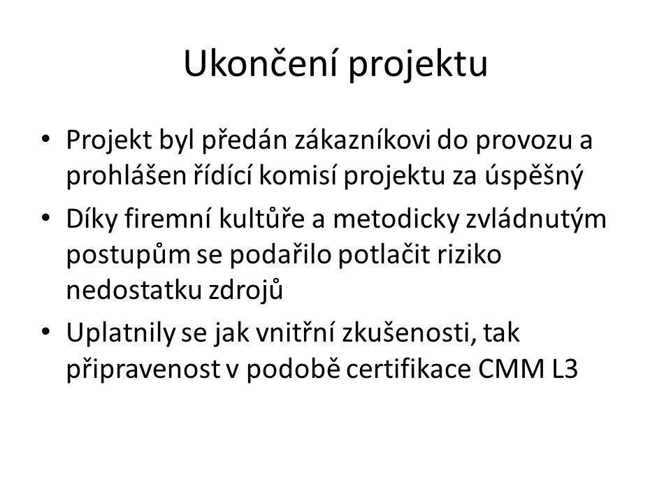 Ukončení projektu Projekt byl předán zákazníkovi do provozu a prohlášen řídící komisí projektu za úspěšný Díky firemní kultůře a metodicky zvládnutým postupům se podařilo potlačit riziko nedostatku zdrojů Uplatnily se jak vnitřní zkušenosti, tak připravenost v podobě certifikace CMM L3