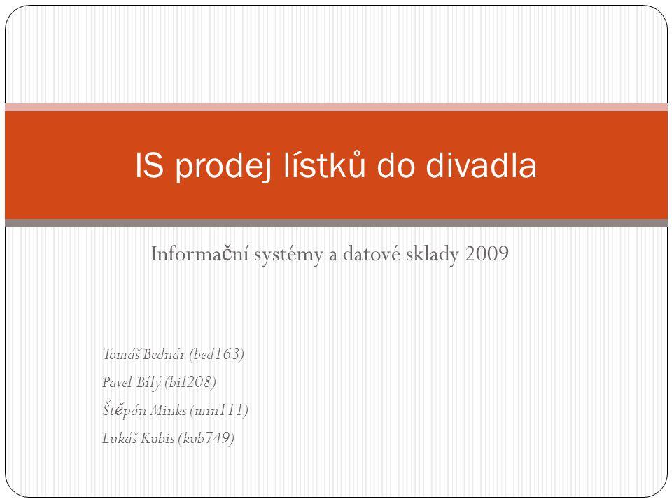 Informa č ní systémy a datové sklady 2009 Tomáš Bednár (bed163) Pavel Bílý (bil208) Št ě pán Minks (min111) Lukáš Kubis (kub749) IS prodej lístků do divadla