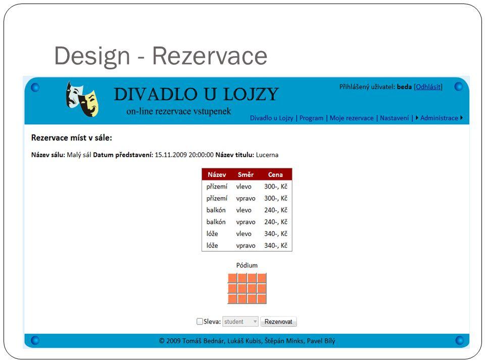 Design - Rezervace