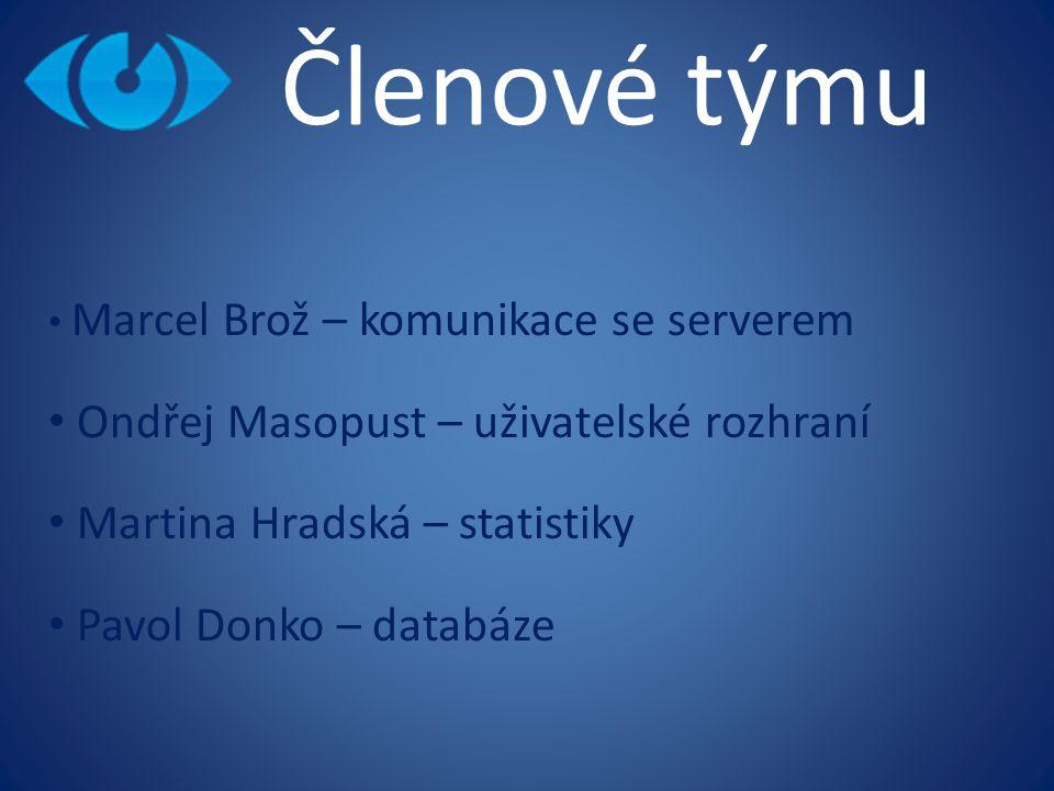 Členové týmu Marcel Brož – komunikace se serverem Ondřej Masopust – uživatelské rozhraní Martina Hradská – statistiky Pavol Donko – databáze