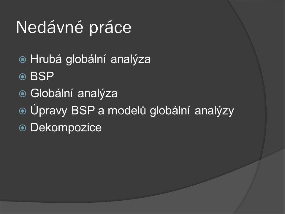 Nedávné práce  Hrubá globální analýza  BSP  Globální analýza  Úpravy BSP a modelů globální analýzy  Dekompozice