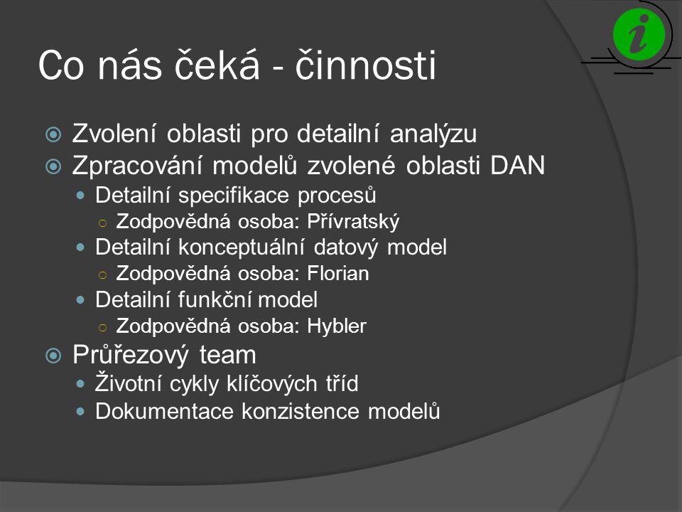 Co nás čeká - činnosti  Zvolení oblasti pro detailní analýzu  Zpracování modelů zvolené oblasti DAN Detailní specifikace procesů ○ Zodpovědná osoba: