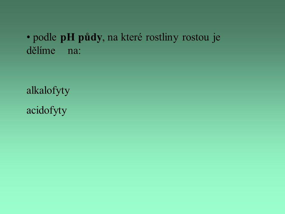 podle pH půdy, na které rostliny rostou je dělíme na: alkalofyty acidofyty