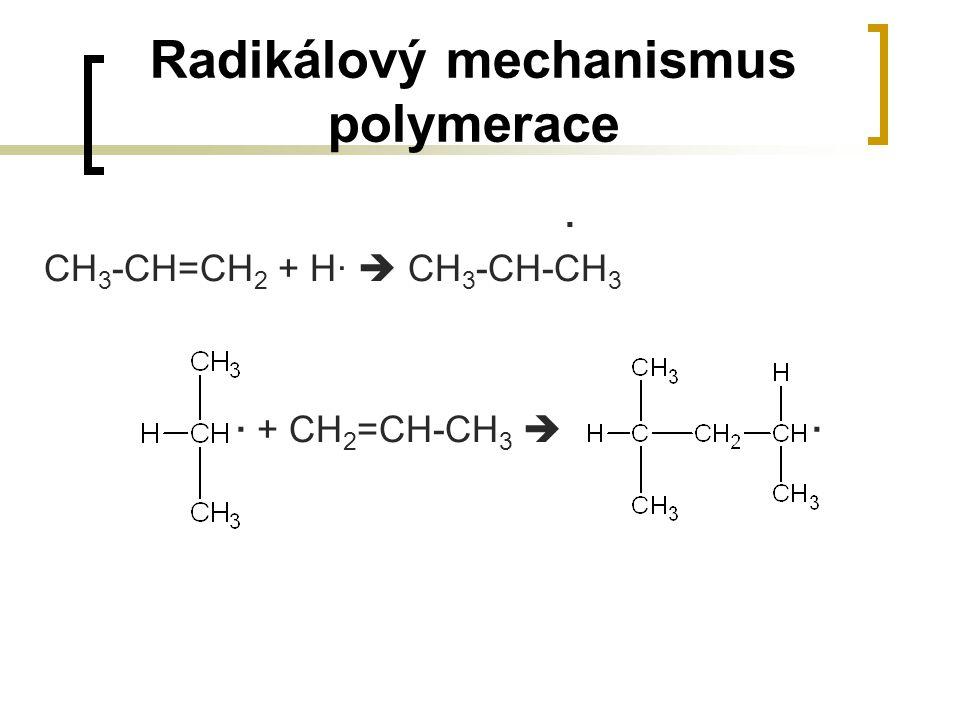 Radikálový mechanismus polymerace. CH 3 -CH=CH 2 + H·  CH 3 -CH-CH 3 · + CH 2 =CH-CH 3  ·