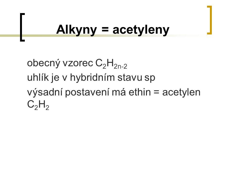 Alkyny = acetyleny obecný vzorec C 2 H 2n-2 uhlík je v hybridním stavu sp výsadní postavení má ethin = acetylen C 2 H 2