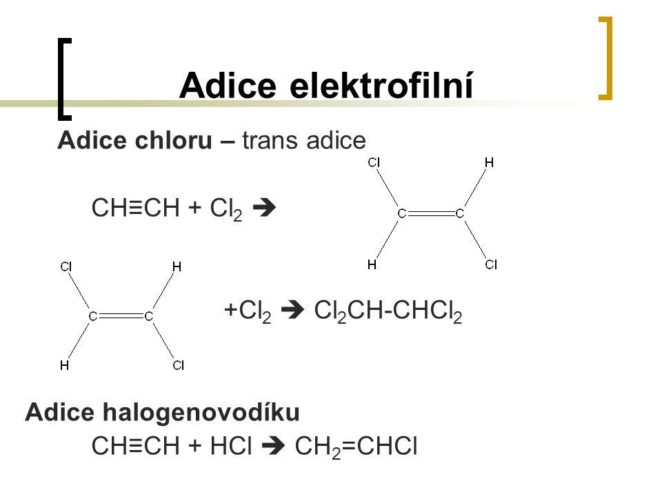Adice elektrofilní Adice chloru – trans adice CH≡CH + Cl 2  +Cl 2  Cl 2 CH-CHCl 2 Adice halogenovodíku CH≡CH + HCl  CH 2 =CHCl