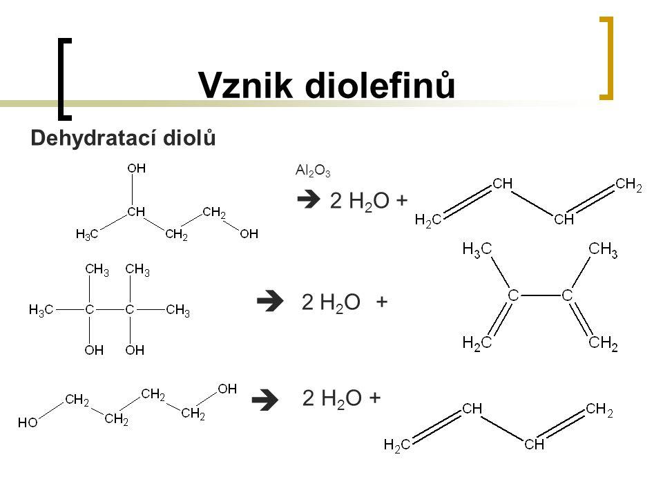 Vznik diolefinů Dehydratací diolů Al 2 O 3  2 H 2 O + 2 H 2 O +  