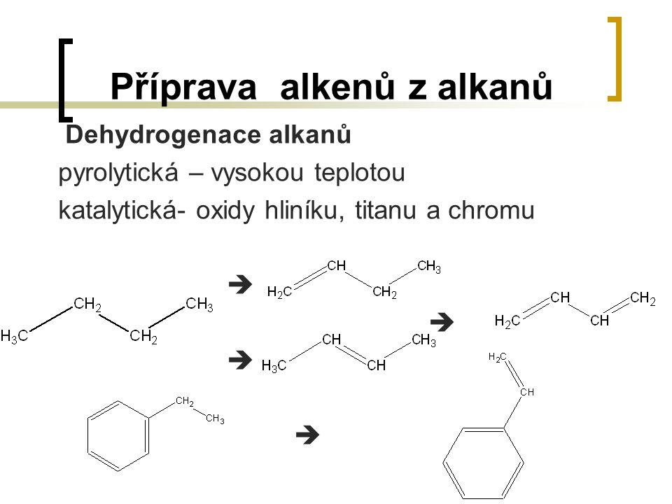 Příprava alkenů z alkanů Dehydrogenace alkanů pyrolytická – vysokou teplotou katalytická- oxidy hliníku, titanu a chromu 