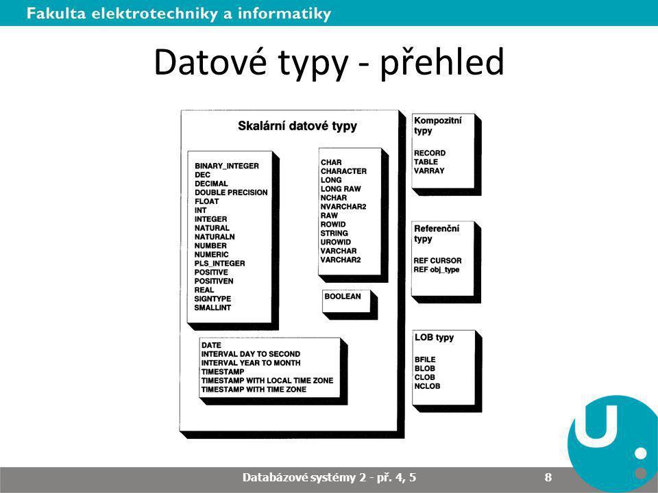 Datové typy - přehled Databázové systémy 2 - př. 4, 5 8