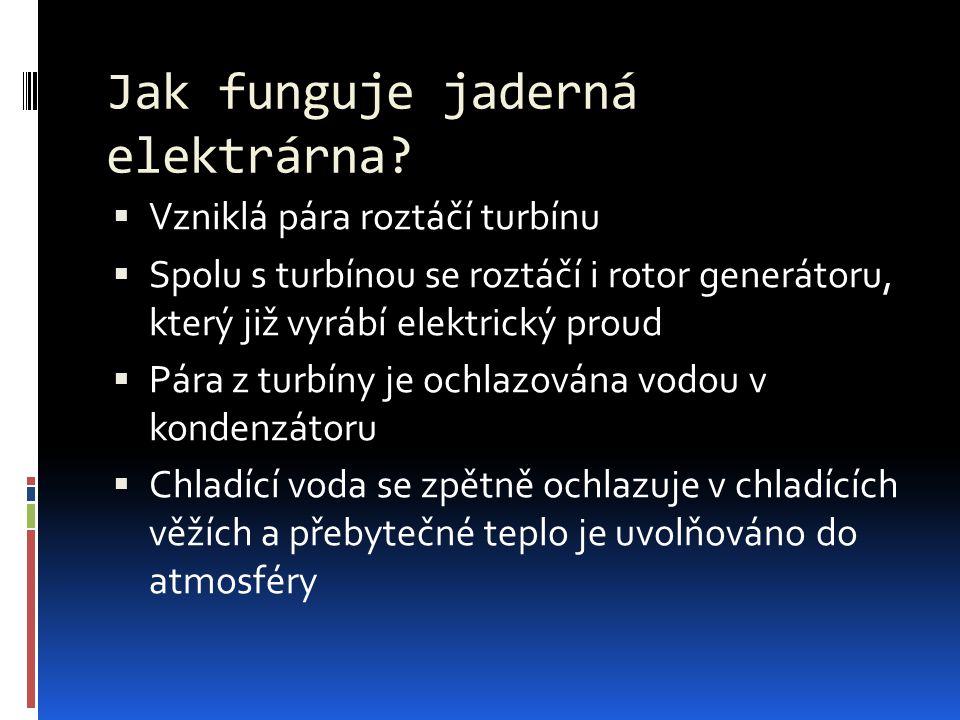 Jak funguje jaderná elektrárna?  Vzniklá pára roztáčí turbínu  Spolu s turbínou se roztáčí i rotor generátoru, který již vyrábí elektrický proud  P