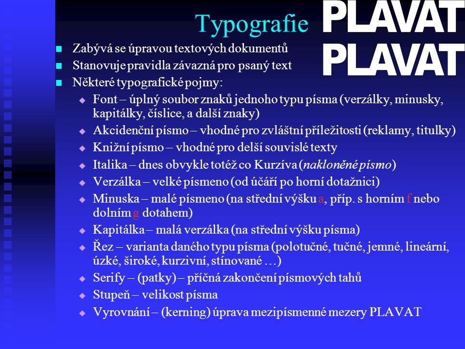 Typografie Zabývá se úpravou textových dokumentů Stanovuje pravidla závazná pro psaný text Některé typografické pojmy:   Font – úplný soubor znaků j