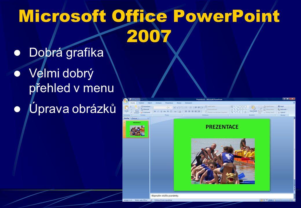 Dobrá grafika Velmi dobrý přehled v menu Úprava obrázků Microsoft Office PowerPoint 2007