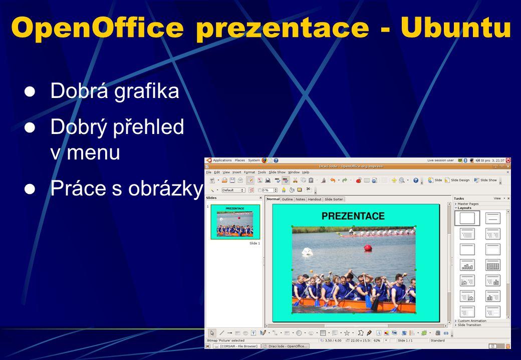 Dobrá grafika Dobrý přehled v menu Práce s obrázky OpenOffice prezentace - Ubuntu