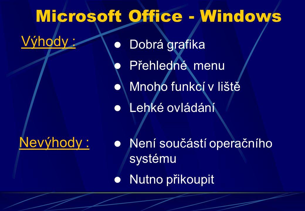 Dobrá grafika Přehledné menu Mnoho funkcí v liště Lehké ovládání Microsoft Office - Windows Výhody : Nevýhody : Není součástí operačního systému Nutno přikoupit