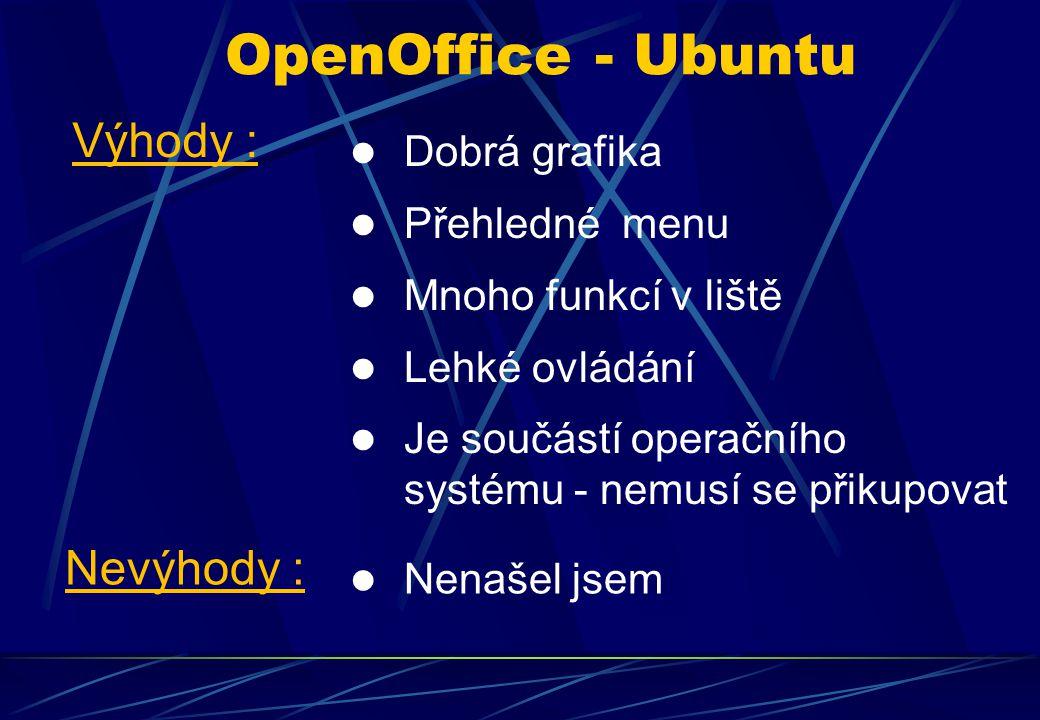 Dobrá grafika Přehledné menu Mnoho funkcí v liště Lehké ovládání Je součástí operačního systému - nemusí se přikupovat OpenOffice - Ubuntu Výhody : Nevýhody : Nenašel jsem
