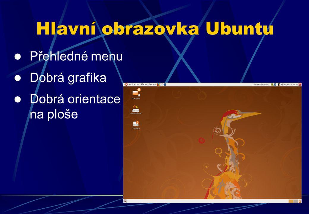 Přehledné menu Dobrá grafika Dobrá orientace na ploše Hlavní obrazovka Ubuntu