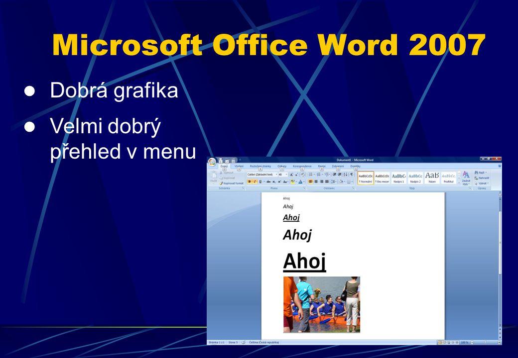 Dobrá grafika Velmi dobrý přehled v menu Microsoft Office Word 2007