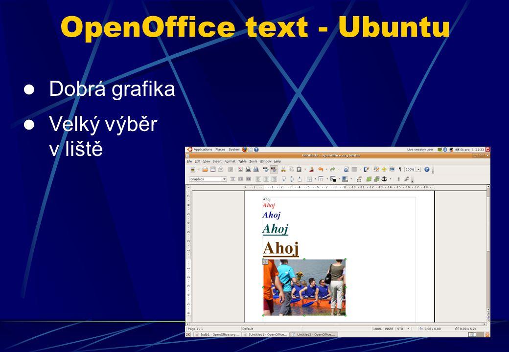 Dobrá grafika Velký výběr v liště OpenOffice text - Ubuntu