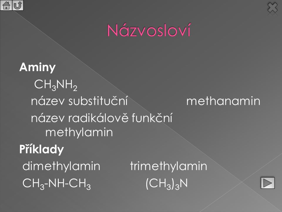 Aminy CH 3 NH 2 název substituční methanamin název radikálově funkční methylamin Příklady dimethylamintrimethylamin CH 3 -NH-CH 3 (CH 3 ) 3 N