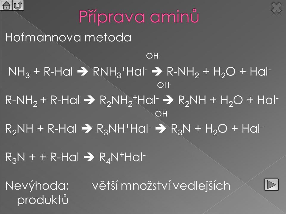 Hofmannova metoda OH - NH 3 + R-Hal  RNH 3 + Hal -  R-NH 2 + H 2 O + Hal - OH - R-NH 2 + R-Hal  R 2 NH 2 + Hal -  R 2 NH + H 2 O + Hal - OH - R 2