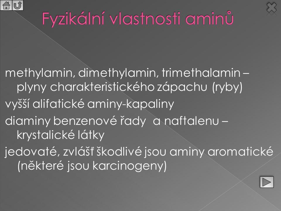 methylamin, dimethylamin, trimethalamin – plyny charakteristického zápachu (ryby) vyšší alifatické aminy-kapaliny diaminy benzenové řady a naftalenu –