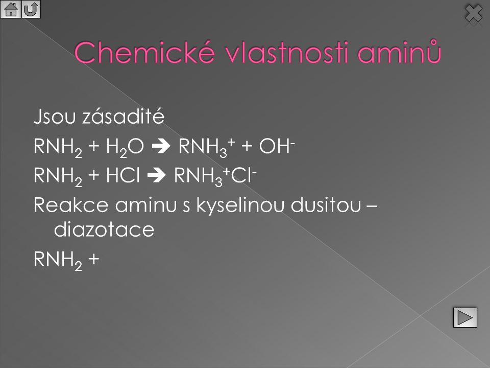 Jsou zásadité RNH 2 + H 2 O  RNH 3 + + OH - RNH 2 + HCl  RNH 3 + Cl - Reakce aminu s kyselinou dusitou – diazotace RNH 2 +