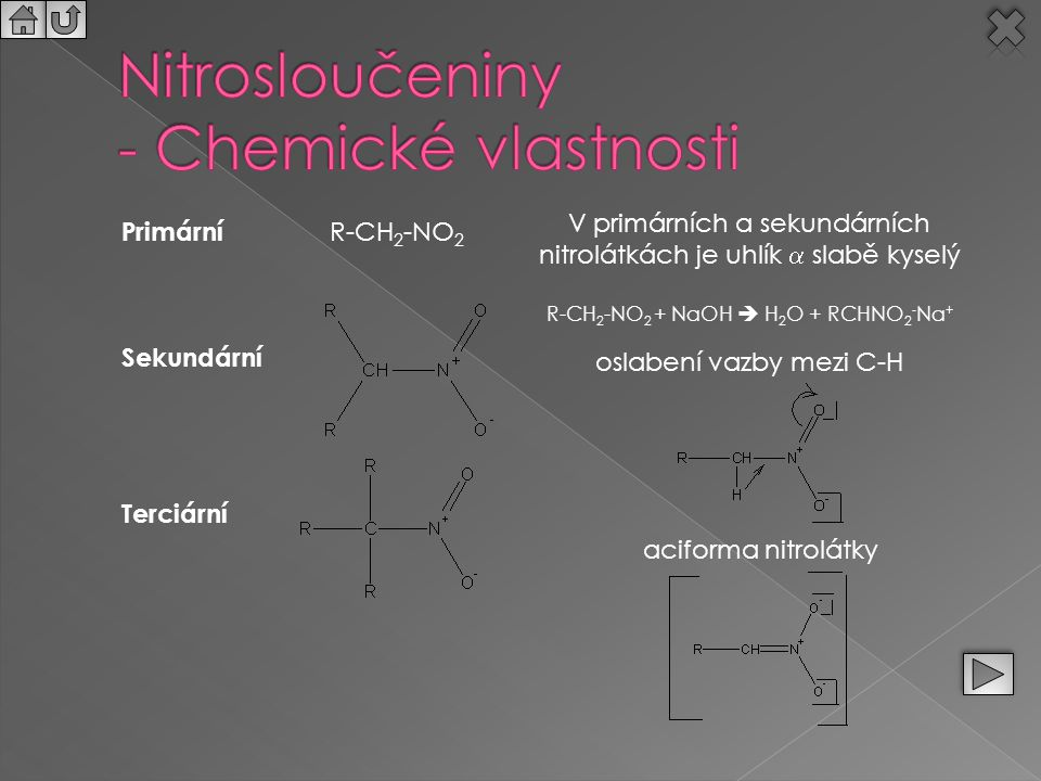 Primární R-CH 2 -NO 2 Sekundární Terciární V primárních a sekundárních nitrolátkách je uhlík  slabě kyselý R-CH 2 -NO 2 + NaOH  H 2 O + RCHNO 2 - Na